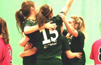 The University of Nottingham women's Futsal lift the Varsity Trophy