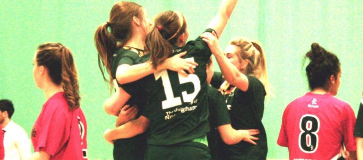 The University of Nottingham women's Futsal lift the Varsity Trophy
