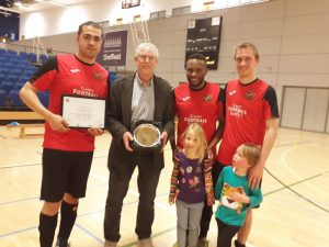 Kevin Bryant receives plaque from Sheffield FC as recognition for 20 years involvement in Futsal